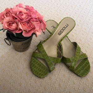 Green high heel sandals